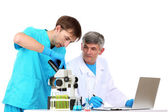 Physician and assayer during research isolated on white — Stock Photo