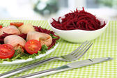 Stuffed cabbage rolls on table in room — Stock Photo