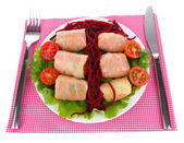 Stuffed cabbage rolls isolated on white — Stock Photo
