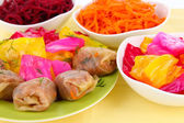 Stuffed cabbage rolls on beige background close-up — Stock Photo