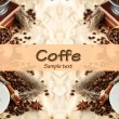 Cup of coffee, pot and grinder on beige background — Stok fotoğraf