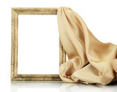 Empty frame with silk, isolated on white — Stock Photo