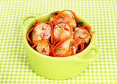 Stuffed cabbage rolls in pan on table — Stock Photo