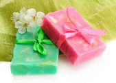 Natural handmade soap, isolated on white — ストック写真