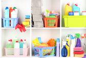 Hyllor i skafferi med rengöringsmedel för hemmet närbild — Stockfoto