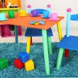 Small and colorful table and chairs for little kids — Stok fotoğraf