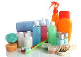 Hotel cosmetics kit isolated on white — Stock Photo