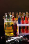 Colorful test tubes on dark background — Stock fotografie