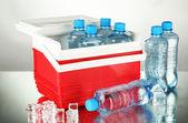 Viajando a geladeira com garrafas de água e cubos de gelo, sobre fundo cinzento — Foto Stock