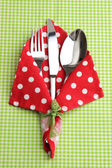 Fork spoon and knife in napkin on fabric checkered background — Стоковое фото