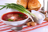 Delicious borsch isolated on white — Stock Photo