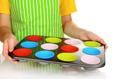 Preparing muffin cakes close up — Stock Photo