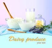 Vaso de leche y queso en mesa sobre fondo claro — Foto de Stock