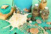 море спа композиция на деревянный стол крупным планом — Стоковое фото