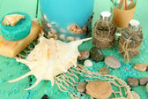 Sea spa composition on wooden table close-up — Stock Photo
