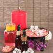 Spa composition with aroma oils on table close-up - Стоковая фотография