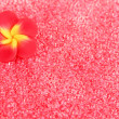Red beads with decorative handmade flower closeup — Stock Photo