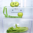 Open refrigerator with diet food — Stok fotoğraf