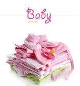 Högen av babykläder isolerad på vit — Stockfoto