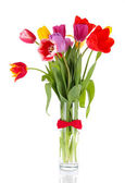 Beautiful tulips in bouquet isolated on white — Stock Photo
