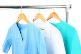 Medical clothing on hunger isolated on white — Stock Photo