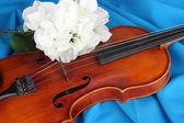 Klassisk fiol på tyg bakgrund — Stockfoto
