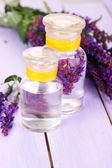 Medicine bottles with salvia flowers on purple wooden background — Stock Photo