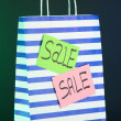 Striped bag on dark background — Stock Photo