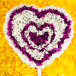 Decorative heart from paper on yellow background — Foto Stock #26013507