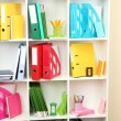 White office shelves with different stationery, close up — Stock Photo #26014309