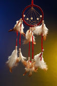 Beautiful dream catcher on color background — Stock Photo