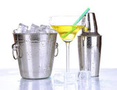 Metal ice bucket and shaker and cocktail isolated on white — Stock Photo