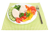 Boiled chicken breast on plate with vegetables close up — Stock Photo