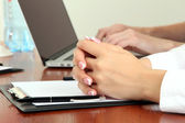 Close up of business hands during teamwork — Stock Photo
