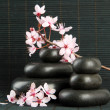 Spa stones and flowers on bamboo background — Stok fotoğraf