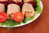 Stuffed cabbage rolls on table close-up — Stock Photo