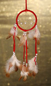 Beautiful dream catcher on background with lights — Stock Photo