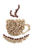 šálek zelených a hnědých kávová zrna izolované na bílém — Stock fotografie