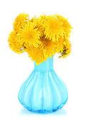 白で隔離される花瓶のタンポポの花 — ストック写真
