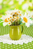 Beautiful bouquet chamomiles in pitcher on tablecloth on natural background — Stock Photo