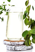 Glass of birch sap, isolated on white — Stock Photo