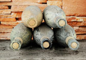 Old bottles of wine, on bricks background — Stok fotoğraf
