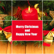 Christmas composition with candle and decorations in red and gold colors on wooden background — Stock Photo