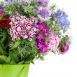 Beautiful bouquet in pail isolated on white — Stock Photo