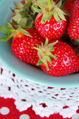Strawberries in plate close-up — Stock Photo