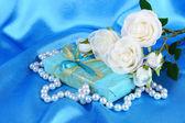 Romantic parcel on blue cloth background — Stock Photo