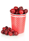 Cherry berries in cup isolated on white — Stock Photo