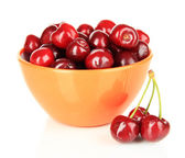 Cherry berries in bowl isolated on white — Stock Photo