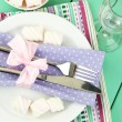Stock Photo: Table setting in violet and white tones on color wooden background