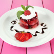 Tasty jelly dessert with fresh berries, on color wooden background — Foto de Stock